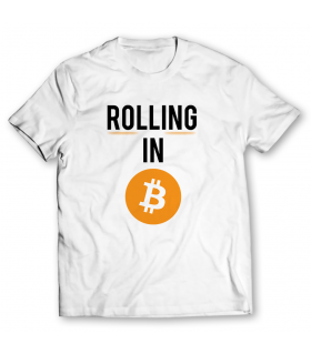 rolling in bitcoin printed graphic t-shirt