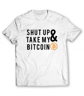 shut up and take my bitcoin printed graphic t-shirt