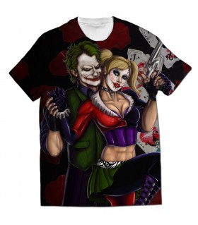 joker and harley all over printed t-shirt