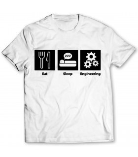eat sleep engineering printed graphic t-shirt