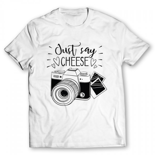just say cheese printed graphic t-shirt