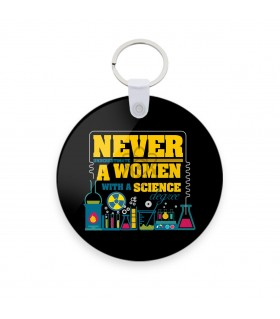 women with a science degree printed keychain