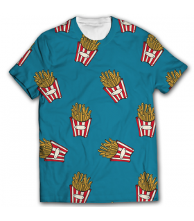 french fries all over printed t-shirt