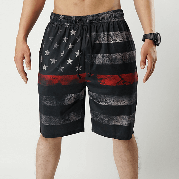 Black American Flag Printed Shorts