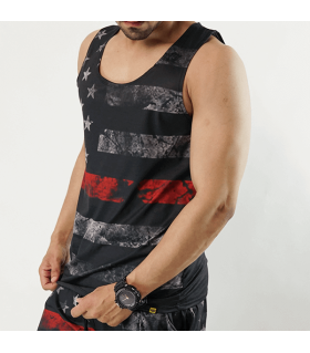 black American flag all over printed tank top