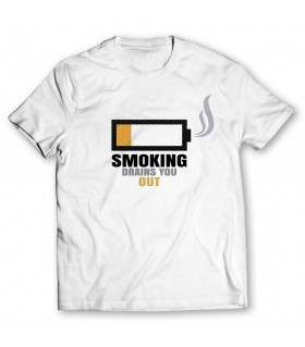 smoking drains you out printed graphic t-shirt