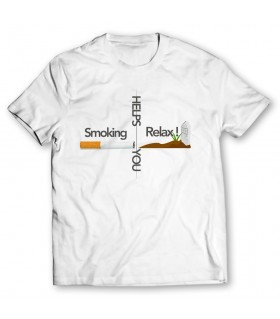 smoking helps you relax printed graphic t-shirt