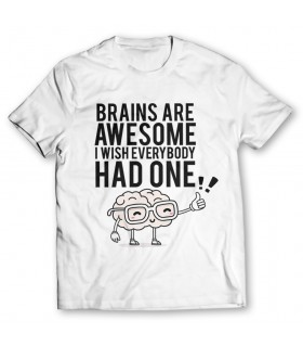 brains are awesome printed graphic t-shirt