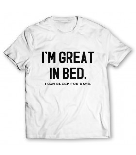 great in bed printed graphic t-shirt
