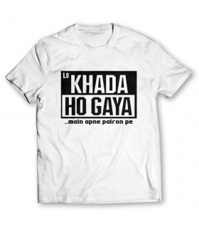 khada ho gaya printed graphic t-shirt
