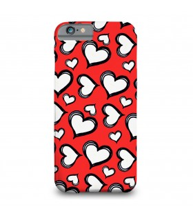 white hearts printed mobile cover