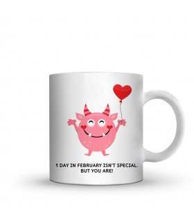 1 day in feb printed mug
