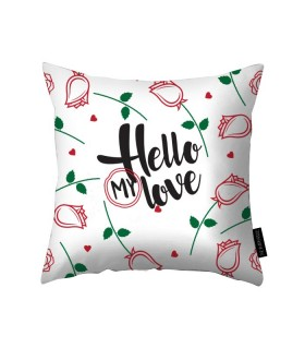 hello my love printed pillow