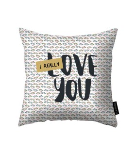 i really love you printed pillow