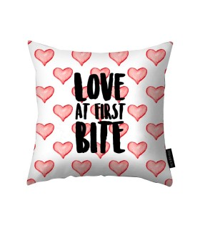 love at first bite printed pillow