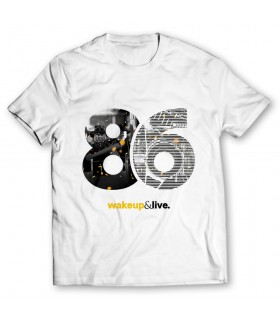 86 wakeup and live printed graphic t-shirt