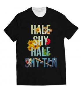 half shy half all over printed t-shirt