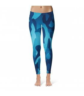 Blue camouflage printed legging