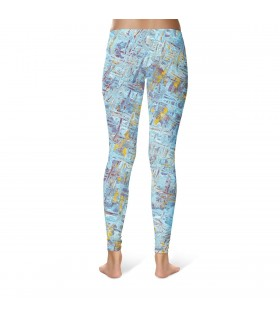blue Abstract art printed legging