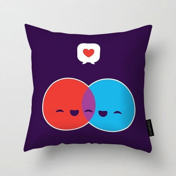 emoticons couple art printed pillow