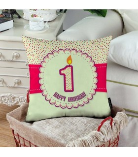 1st happy anniversary printed pillow
