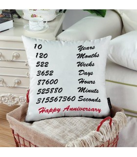 every seconds happy anniversary printed pillow