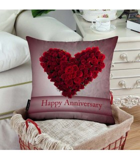 flower heart happy anniversary printed pillow