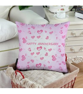 heart happy anniversary printed pillow