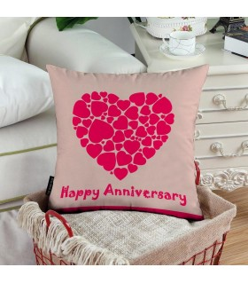 hearts with line happy anniversary printde pillow