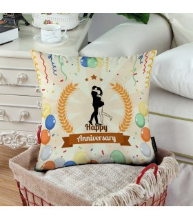 hugging happy anniversary printed pillow