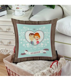 love happy anniversary printed pillow