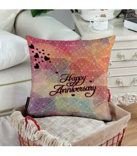 multi color happy anniversary printed pillow