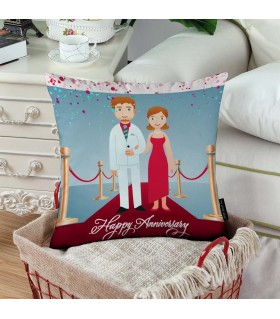 red carpet happy anniversary printed pillow