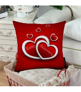 red hearts happy anniversary printed pillow