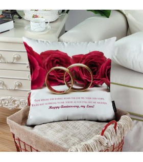 two rings happy anniversary printed pillow
