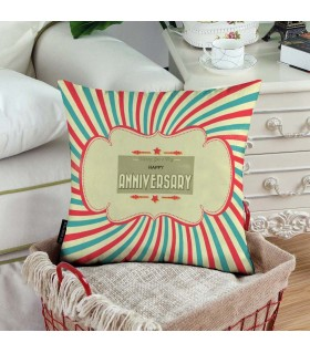 wishing you a very loving happy anniversary printed pillow