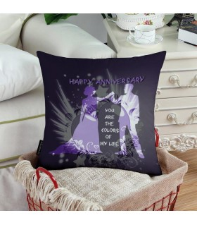 you are the color of my life happy anniversary printed pillow