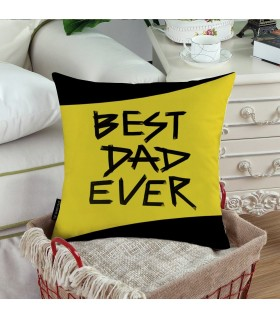 black and yellow line best dad ever printed pillow