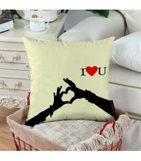 hand heart love printed pillow