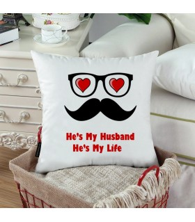 HE IS MY HUSBAND printed pillow