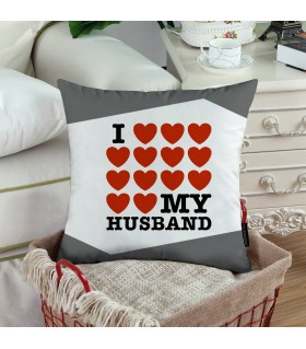 LOVE MY HUSBAND WITH BUNCH OF HEART printed Pillow