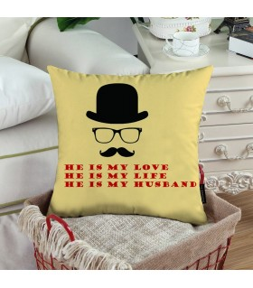 MY LOVE MY LIFE MY HUSBAND PRINTED pillow