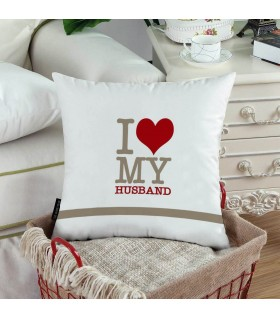 i love my husband printed pillow