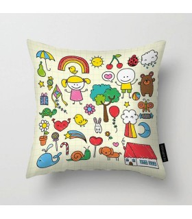 Cute childrens drawing art printed pillow