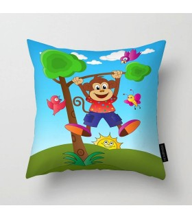 Monkey and bird fun printed pillow