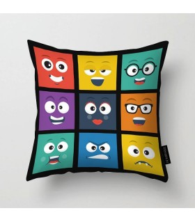 Square smileys faces printed pillow