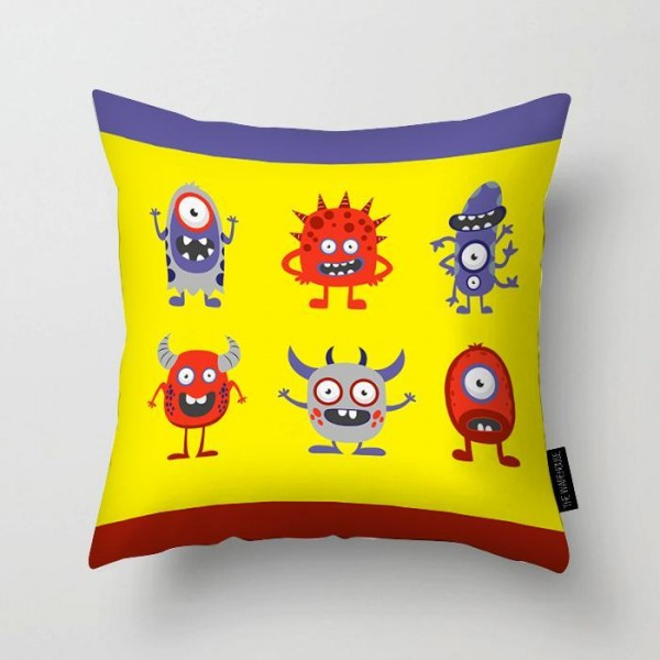 Funny Monsters Art Printed Pillow