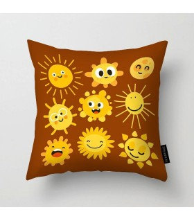 funny sun faces printed pillow