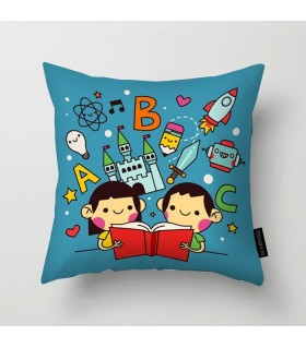 kid reading fun book printed pillow