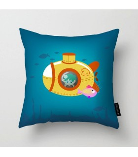 kid submarine underwater printed pillow